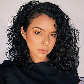 cheap Human Hair Wigs-Human Hair Lace Front Wig Bob Short Bob style Brazilian Hair Curly Wavy Black Wig 130% Density with Baby Hair Natural Hairline For Black Women 100% Virgin 100% Hand Tied Women's Short Human Hair Lace