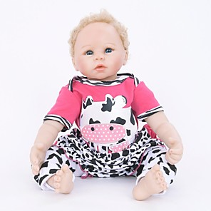 cheap LED String Lights-FeelWind 22 inch Reborn Doll Girl Doll Baby Girl Reborn Baby Doll lifelike Handmade Cute Child Safe Kids / Teen Cloth 3/4 Silicone Limbs and Cotton Filled Body with Clothes and Accessories for Girls