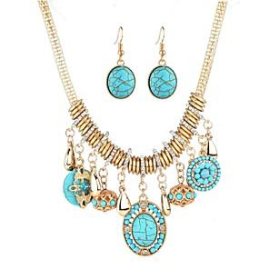 cheap Jewelry Sets-Women's Turquoise Drop Earrings Classic Hyperbole Ethnic Fashion western style Elizabeth Locke Rhinestone Earrings Jewelry Gold For Party Festival 1 set
