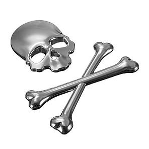 cheap Car Stickers-Car 3D Skeleton Skull Bone Emblem Badge Logo Metal Sticker Decal