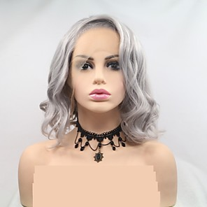 cheap Synthetic Trendy Wigs-Synthetic Lace Front Wig Deep Curly Layered Haircut Lace Front Wig Short Grey Synthetic Hair 12 inch Women's Women Dark Gray Sylvia