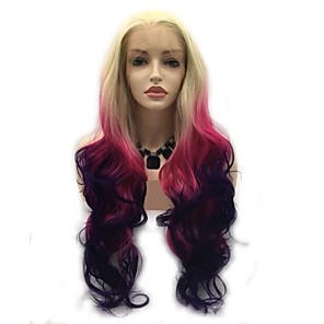 cheap Synthetic Lace Wigs-Synthetic Lace Front Wig Body Wave Layered Haircut Lace Front Wig Pink Long Pink / Purple Synthetic Hair 24 inch Women's Women Pink Purple Sylvia