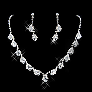 cheap Jewelry Sets-Women's Necklace Classic Drop Stylish Rhinestone Earrings Jewelry Black / Purple / Red For Wedding Party 1 set