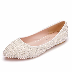cheap Wedding Shoes-Women's PU(Polyurethane) Spring &  Fall Sweet Wedding Shoes Flat Heel Pointed Toe Imitation Pearl Ivory