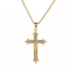 cheap Pendant Necklaces-Men's Cubic Zirconia Pendant Necklace Classic Cross Vintage Rock Hip-Hop Chrome Imitation Diamond Gold 71 cm Necklace Jewelry 1pc For Street Bar