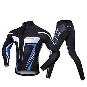 cheap Triathlon Clothing-Realtoo Men's Long Sleeve Cycling Jersey with Tights Blue / Black Bike Clothing Suit 3D Pad Sports Spandex Classic Mountain Bike MTB Road Bike Cycling Clothing Apparel / Micro-elastic / Triathlon
