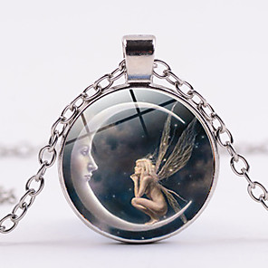 cheap Necklaces-Women's Pendant Necklace Classic Moon Crescent Moon Angel Magic Simple Fashion Glass Chrome Black Gold Silver 45+5 cm Necklace Jewelry 1pc For Daily Going out