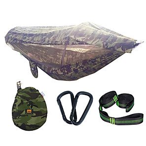 cheap Sleeping Bags & Camp Bedding-Camping Hammock with Pop Up Mosquito Net Hammock Rain Fly Double Hammock Outdoor Lightweight Sunscreen Breathable Parachute Nylon with Carabiners and Tree Straps for 2 person Camping / Hiking Hunting