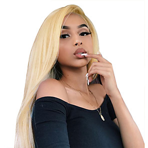 cheap Human Hair Wigs-Virgin Human Hair Full Lace Wig Minaj style Brazilian Hair Straight Blonde Wig 130% Density 12-22 inch with Baby Hair Best Quality Hot Sale with Clip Women's Medium Length Human Hair Lace Wig WoWEbony