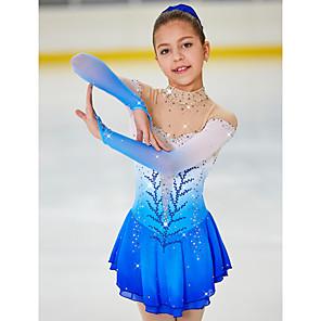 cheap Kids' Dancewear-Figure Skating Dress Women's Girls' Ice Skating Dress Light Yellow Yan pink Purple Halo Dyeing Spandex High Elasticity Competition Skating Wear Warm Handmade Jeweled Rhinestone Long Sleeve Ice