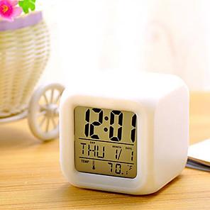 cheap Alarm Clocks-7 Colors LED Changing Digital Alarm Clock Desk Thermometer Night Glowing Cube LCD Clock