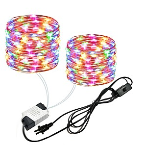 cheap LED String Lights-2x10M 66Ft 2x100leds Waterproof Copper Wire lights Fairy String EU US Plug with Switch Direct use AC85-265V