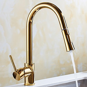 cheap Kitchen Faucets-Pullout Spray Kitchen faucet - Single Handle One Hole Electroplated Pull-out / ­Pull-down / Tall / ­High Arc Free Standing Ordinary Kitchen Taps / Brass