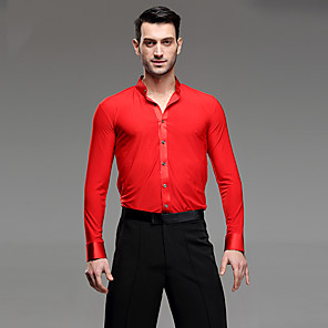 cheap Latin Dancewear-Latin Dance Shirt Ruching Men's Performance Long Sleeve Linen