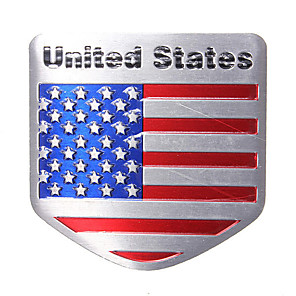cheap Car Body Decoration & Protection-USA Flag Metal Auto Refitting Car Badge Emblem Decal Sticker