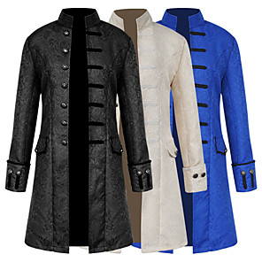cheap Videogame Cosplay Accessories-Plague Doctor Medieval Steampunk Coat Frock Coat Men's Costume Black / White / Royal Blue Vintage Cosplay Long Sleeve