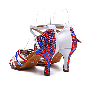 cheap Latin Shoes-Women's Dance Shoes Satin Latin Shoes Sparkling Glitter / Buckle / Crystals Heel Thick Heel White / Performance