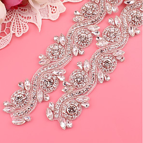 cheap Party Sashes-Silver-Plated Wedding / Party / Evening Sash With Crystals / Rhinestones Women's Sashes