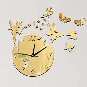 cheap Wall Stickers-Modern Style Plastic & Metal Irregular Indoor AA Batteries Powered Decoration Wall Clock Mirror Polished No