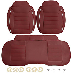 cheap Car Headrests&Waist Cushions-3pcs PU Leather Car Front Rear Seat Covers Universal Seat Protector Seat Cushion Pad Mat