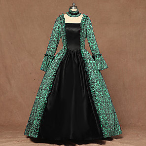 cheap Party Sashes-Queen Queen Elizabeth Vintage Rococo Victorian 18th Century Dress Women's Costume Green Vintage Cosplay Party Stage Long Sleeve Floor Length Ball Gown Plus Size