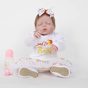 cheap Reborn Doll-FeelWind 22 inch Reborn Doll Girl Doll Baby Girl Reborn Baby Doll lifelike Handmade Cute Child Safe Kids / Teen Full Body Silicone with Clothes and Accessories for Girls' Birthday and Festival Gifts