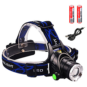 cheap Flashlights & Camping Lanterns-Headlamps Headlight Waterproof Zoomable 1600 lm LED LED Emitters 3 Mode with Batteries and Charger Waterproof Zoomable Rechargeable Adjustable Focus Impact Resistant Strike Bezel Camping / Hiking