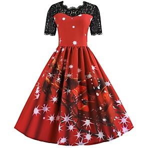 economico Costumi da Babbo Natale & Costumi di Natale-Inverno Abito di Natale Per donna Giapponese Costumi Cosplay Rosso Con stampe Vintage Manica corta