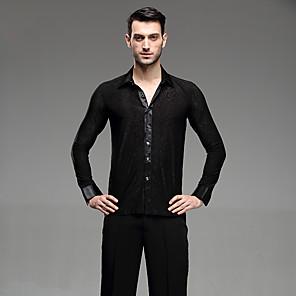 cheap Latin Dancewear-Latin Dance Shirt Ruching Men's Performance Long Sleeve Cotton