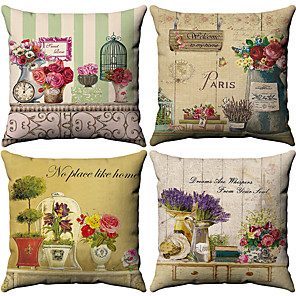cheap Blankets & Throws-4 pcs Cotton / Linen Pillow Cover, Floral Pattern Floral Print Flower Patterned