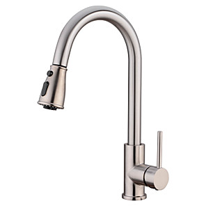 cheap Kitchen Faucets-Kitchen faucet - Single Handle One Hole Chrome / Nickel Brushed Pull-out / Pull-down / Tall / High Arc Free Standing Contemporary / Standing Style Kitchen Taps