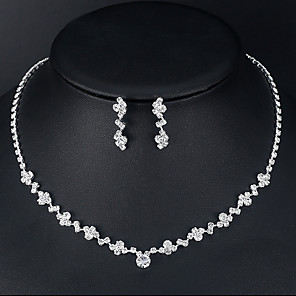cheap Jewelry Sets-Women's Necklace Earrings Tennis Chain European Trendy Fashion Rhinestone Earrings Jewelry Silver For Wedding Engagement 1 set