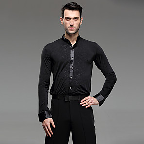 cheap Latin Dancewear-Latin Dance Shirt Ruching Men's Performance Long Sleeve Cotton