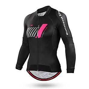 cheap Cycling Jerseys-Mountainpeak Women's Long Sleeve Cycling Jersey Winter Coolmax® Black Stripes Bike Jersey Top Mountain Bike MTB Road Bike Cycling Breathable Quick Dry Sports Clothing Apparel