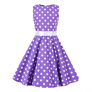cheap Historical & Vintage Costumes-Audrey Hepburn Floral Style Vintage Vintage Inspired Hepburn Dress JSK / Jumper Skirt Girls' Kid's Costume Purple Vintage Cosplay Party / Evening Family Gathering Festival Sleeveless Above Knee Knee