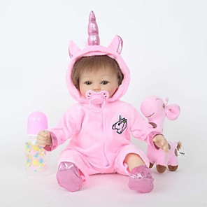 cheap Reborn Doll-FeelWind 18 inch Reborn Doll Reborn Toddler Doll Baby Girl Unicorn Horse with Baby Hair lifelike Handmade Cute Kids / Teen Cloth 3/4 Silicone Limbs and Cotton Filled Body with Clothes and Accessories