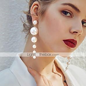 cheap Jewelry Sets-Women's Drop Earrings Long Floating Stylish Elegant Imitation Pearl Earrings Jewelry Beige / White For Gift Ceremony Festival 1 Pair