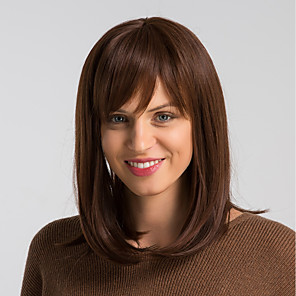 cheap Synthetic Lace Wigs-Human Hair Blend Wig Medium Length Natural Straight Bob Brown Fashionable Design Easy dressing Comfortable Capless Women's Brown 14 inch / Natural Hairline / Natural Hairline