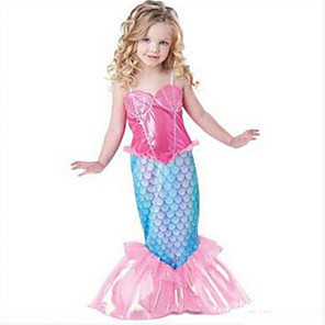 cheap Movie & TV Theme Costumes-The Little Mermaid Cosplay Costume Halloween Props Flower Girl Dress Kid's Girls' A-Line Slip Cartoon Halloween Halloween Children's Day New Year Festival / Holiday Chinlon Fuchsia Carnival Costumes