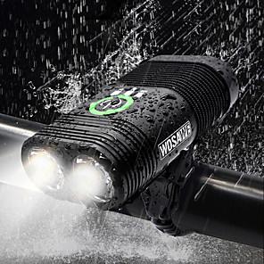 cheap Bike Lights & Reflectors-Dual LED Bike Light Front Bike Light Headlight Flashlight Bicycle Cycling Waterproof Rechargeable Multiple Modes Super Bright USB 2400 lm Rechargeable USB White Cycling / Bike - WOSAWE / IP67