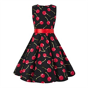 cheap Historical & Vintage Costumes-Audrey Hepburn Floral Style Vintage Vintage Inspired Hepburn Dress JSK / Jumper Skirt Girls' Kid's Costume Red / black Vintage Cosplay Party / Evening Family Gathering Festival Sleeveless Above Knee