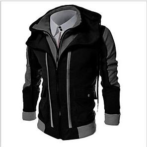 cheap Game Consoles-Men's Hoodie Color Block Hooded Basic Sports - Long Sleeve Black Light gray Dark Gray M L XL XXL XXXL / Spring / Fall