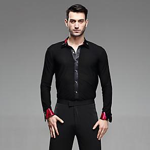 cheap Latin Dancewear-Latin Dance Shirt Ruching Split Joint Men's Performance Long Sleeve Cotton