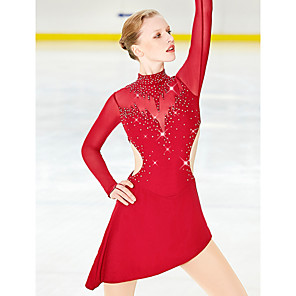 cheap Ice Skating Dresses , Pants & Jackets-Figure Skating Dress Women's Girls' Ice Skating Skirt Dress Black Yan pink Sky Blue Spandex Stretch Yarn Stretchy High Elasticity Professional Competition Skating Wear Rhinestone Long Sleeve Ice