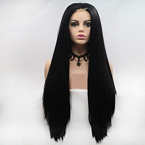 cheap Synthetic Lace Wigs-Synthetic Lace Front Wig kinky Straight Layered Haircut Wig Long Natural Black Synthetic Hair 24 inch Women's Women Black Sylvia