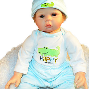 cheap Reborn Doll-FeelWind 22 inch Reborn Doll Baby Boy Reborn Baby Doll lifelike Handmade Cute Kids / Teen Non-toxic Silicone Cloth Vinyl 3/4 Silicone Limbs and Cotton Filled Body with Clothes and Accessories for