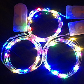 cheap LED Recessed Lights-1m Flexible LED Light Strips String Lights 10 LEDs SMD 0603 1pc Color-changing Christmas New Year's Waterproof Party Decorative Batteries Powered