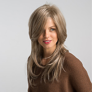 cheap Synthetic Trendy Wigs-Synthetic Wig Straight Side Part Wig Blonde Medium Length Light golden Synthetic Hair 20 inch Women's Fashionable Design New Arrival Natural Hairline Blonde MAYSU