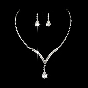 cheap Jewelry Sets-Women's Cubic Zirconia Drop Earrings Choker Necklace Vintage Necklace Long Drop Flower Classic Elegant Vintage Sterling Silver Earrings Jewelry Silver For Wedding Ceremony Engagement