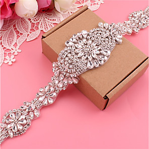 cheap Party Sashes-Silver plated steel Wedding / Party / Evening Sash With Crystals / Rhinestones Women's Sashes